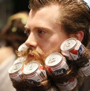 A hipster beard AND Pabst Blue Ribbon.  It's too much for one image. LOOK AWAY.
